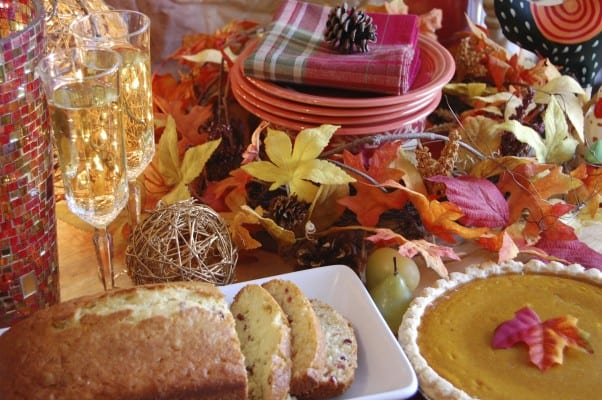 Holiday desserts on a festively decorated table