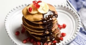 "Banana ""Pancakes"" with Pomegranate & Cacao Sauce"