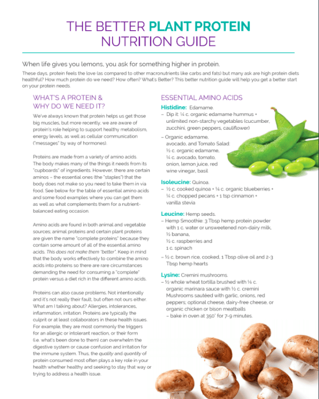 first page plant protein nutrition guide
