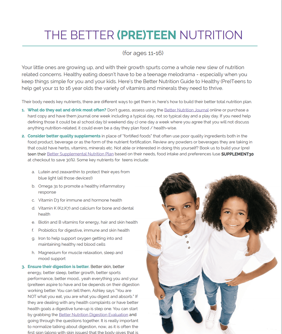 teenager pre-teen nutrition teens