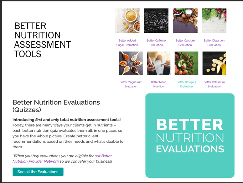 Better nutrition assessment tools evaluations
