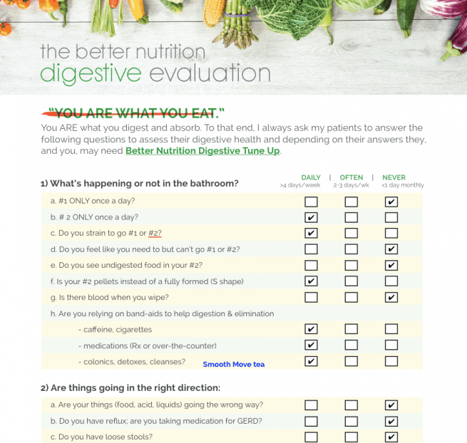Filled in Digestive Evaluation