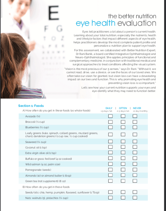 Eye Nutrition Evaluation First Page
