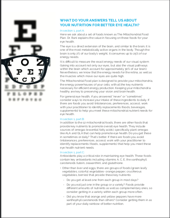 Eye Nutrition Evaluation Page 2 Recommendations