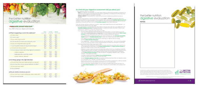 The Better Nutrition Program Digestive Evaluation front page recommendations and notes pages